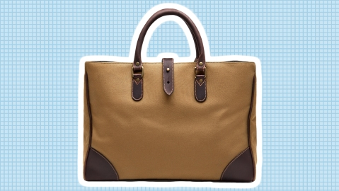 Etinnger's Picadilly tote in sand canvas and Havana leather.