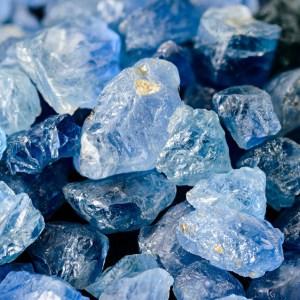 Uncut blue sapphires