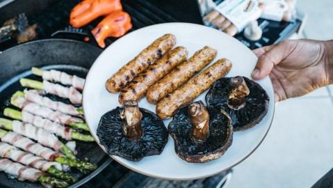 pork sausage grill mushrooms