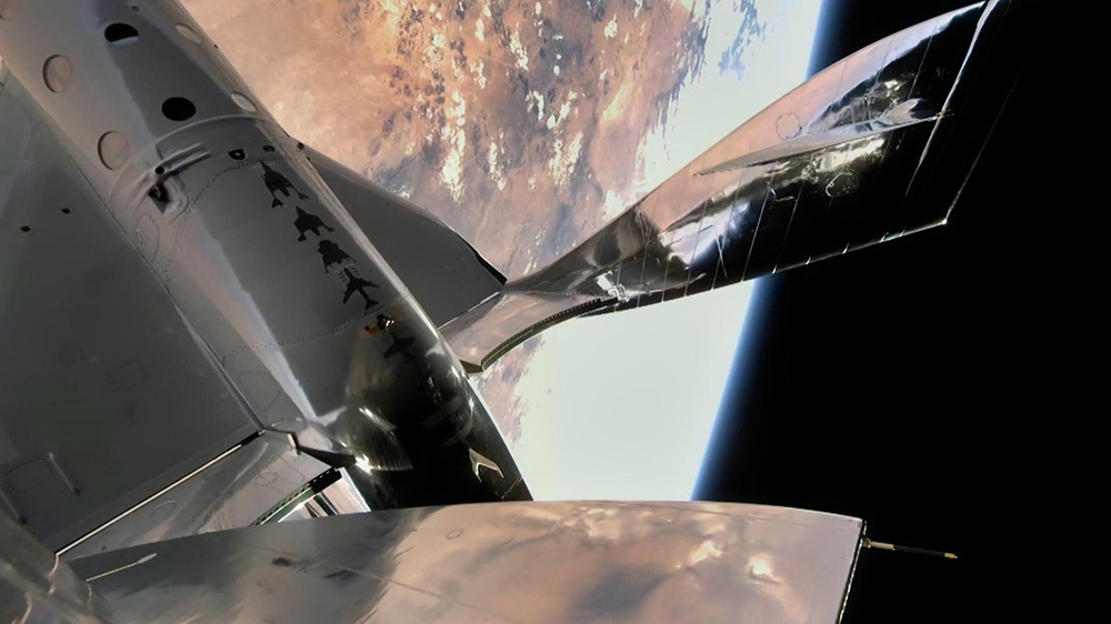 Virgin Galactic's VSS Unity in space over New Mexico