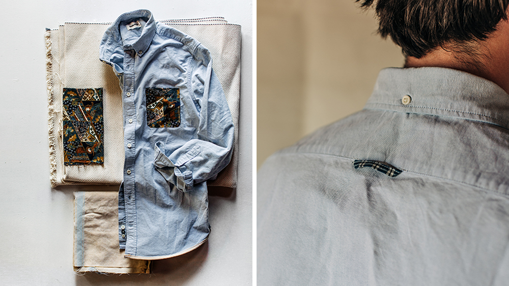 Details of the blue oxford shirt ($195).