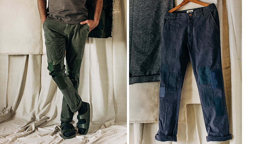 Two variations of the patch-worked chinos ($220 each).