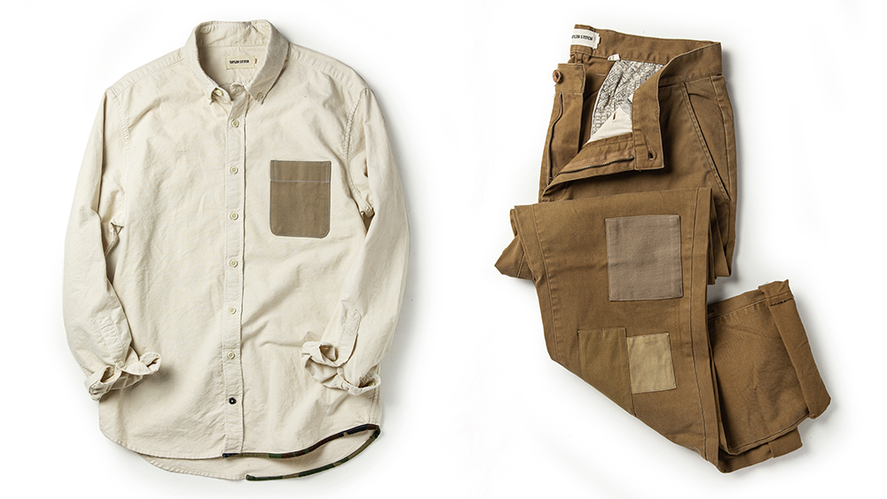 The oxford shirt in white ($195) and chinos in khaki ($220).
