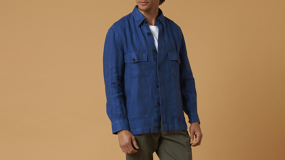 One of Luca Avitabile's over-shirts in Irish linen herringbone (€300).