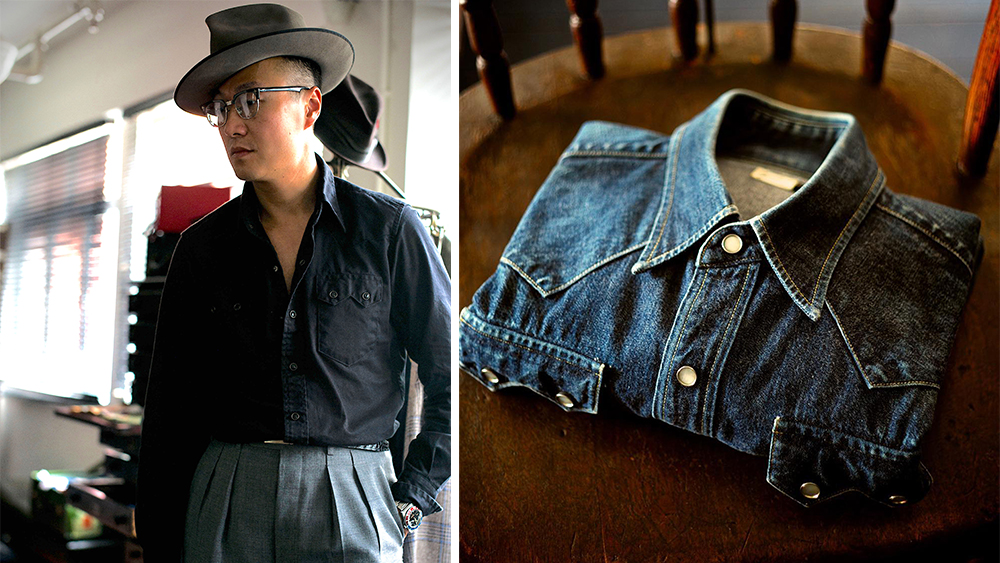 The Sawtooth Westerner in black and in raw denim that's been broken in.