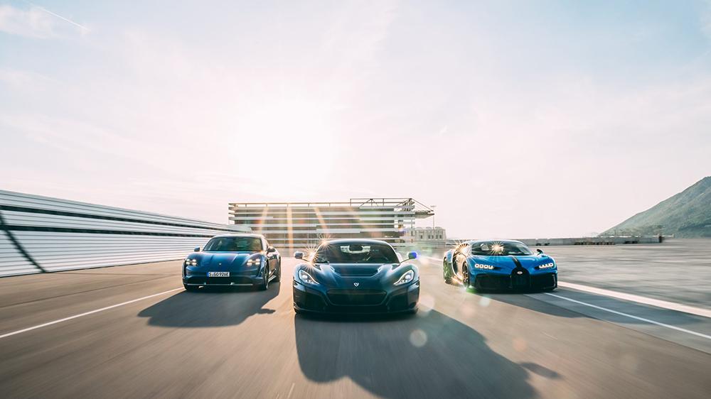 The Porsche Taycan, Rimac Nevera and Bugatti Chiron
