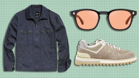 Todd Snyder jacket, Frescobol Carioca sunglasses, New Balance sneakers