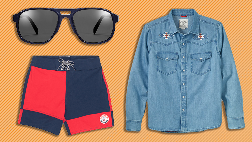 Warby Parker sunglasses, Iron and Resin shirt, Birdwell boardshorts