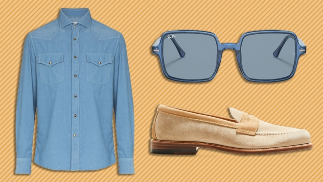 Brunello Cucinelli shirt, Ray-Ban sunglasses, Todd Snyder x Alden loafers