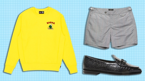 Rowing Blazers x Babar sweatshirt, Fox Brothers swim trunks, Todd Snyder x Rubinacci loafers.