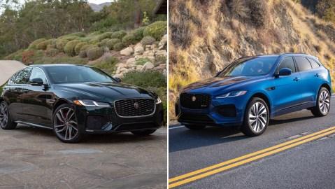 The 2021 Jaguar XF sedan and F-Pace SUV.