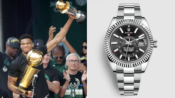 Giannis Antetokounmpo Wore a Rolex Sky-Dweller to the Milwaukee Bucks' NBA Championship Parade (edited)