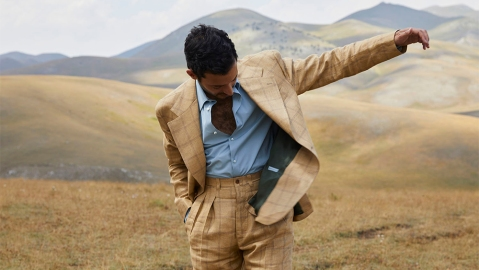 A model wears a readymade suit from Giuliva Heritage.