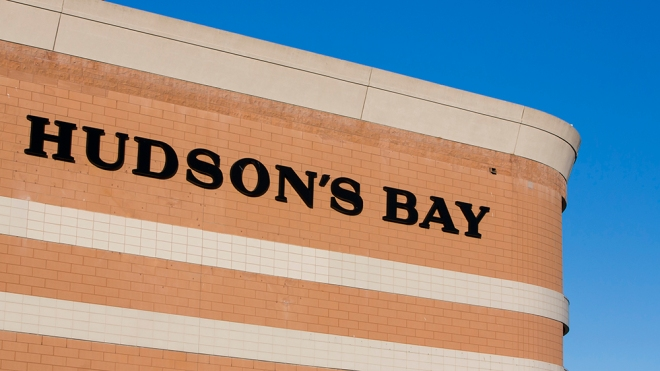 A logo sign outside of a Hudson's Bay retail store in Burlington, ON, Canada on April 14, 2017. Photo by Kristoffer Tripplaar *** Please Use Credit from Credit Field ***(Sipa via AP Images)