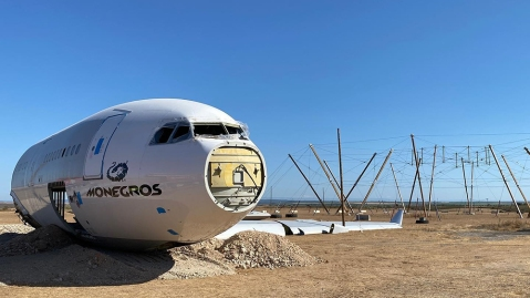 """The Airbus A330 fuselage which will be turned into the """"Monegros 8.6 Airlines Experience"""" stage"""