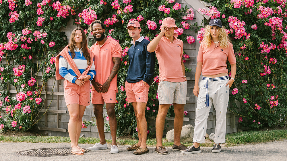Models wearing pieces from Rowing Blazers x Murray's Toggery Shop.