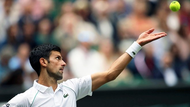 Novak Djokovic of Serbia, photographed during the 2021 Wimbledon tennis championship, has now earned $150 million playing professional tennis.