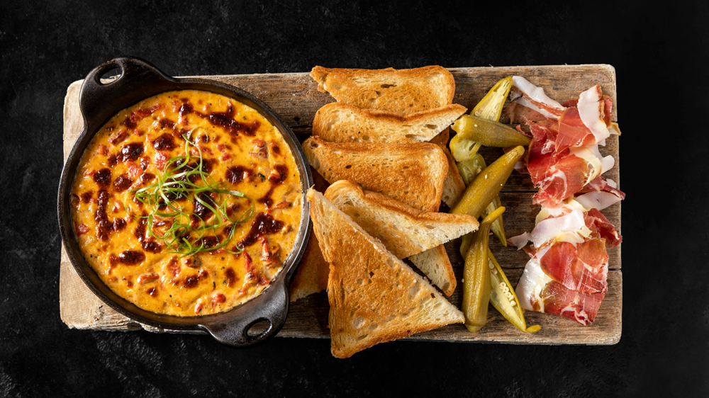 pimento cheese ham bread pickled okra