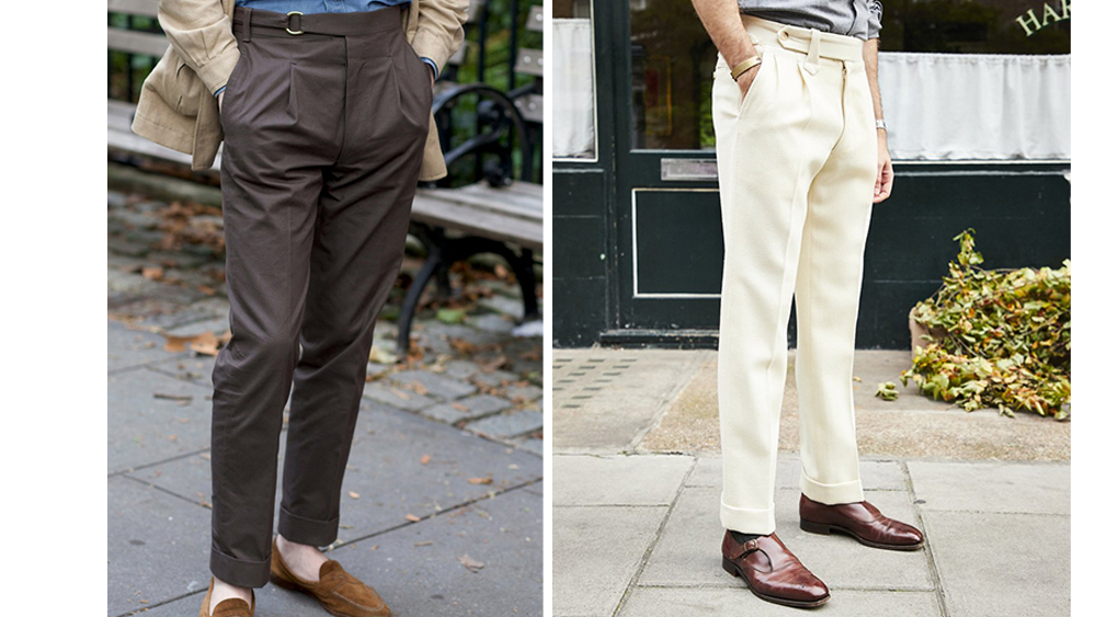 Two pairs of Pomella's readymade trousers, including a model exclusive to The Armoury (left, $800).