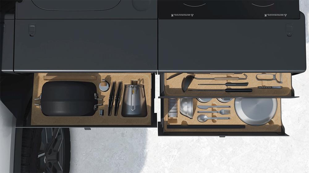 Rivian R1T's Camp Kitchen x Snow Peak package