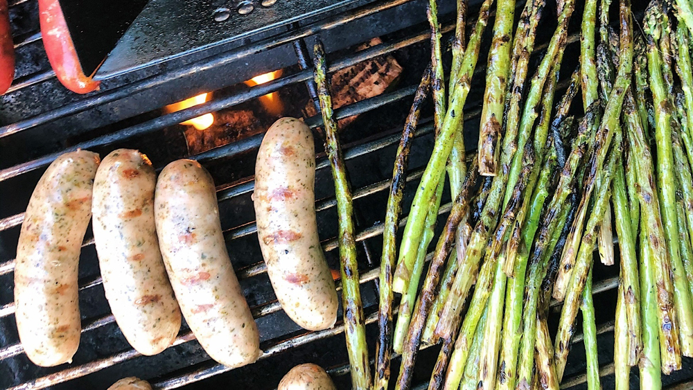 Seemore Sausages grill green onions
