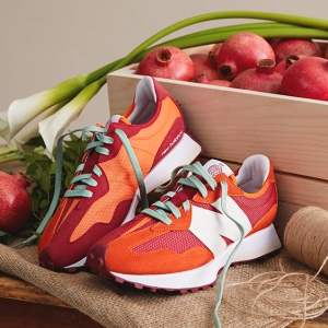 The Todd Snyder x New Balance Farmers Market 327 sneaker in pomegranate.