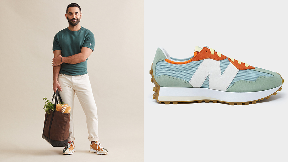 """The Farmers Market edition 327 sneaker in """"pineapple"""" (right, $150)."""