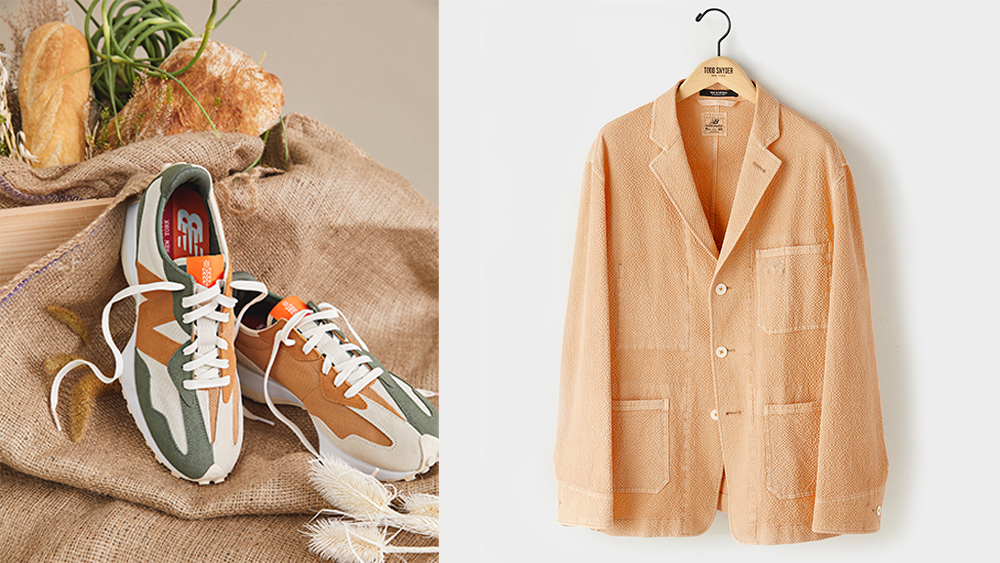 """The Farmers Market edition 327 sneaker in """"wheat"""" ($130) and Snyder's new Market jacket ($398)."""