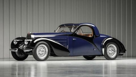 A 1938 Bugatti Type 57S Atalante Coupé.