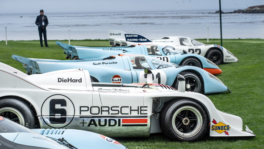 A collection of Porsche 917s at the 2021 edition of the Pebble Beach Concours d'Elegance.