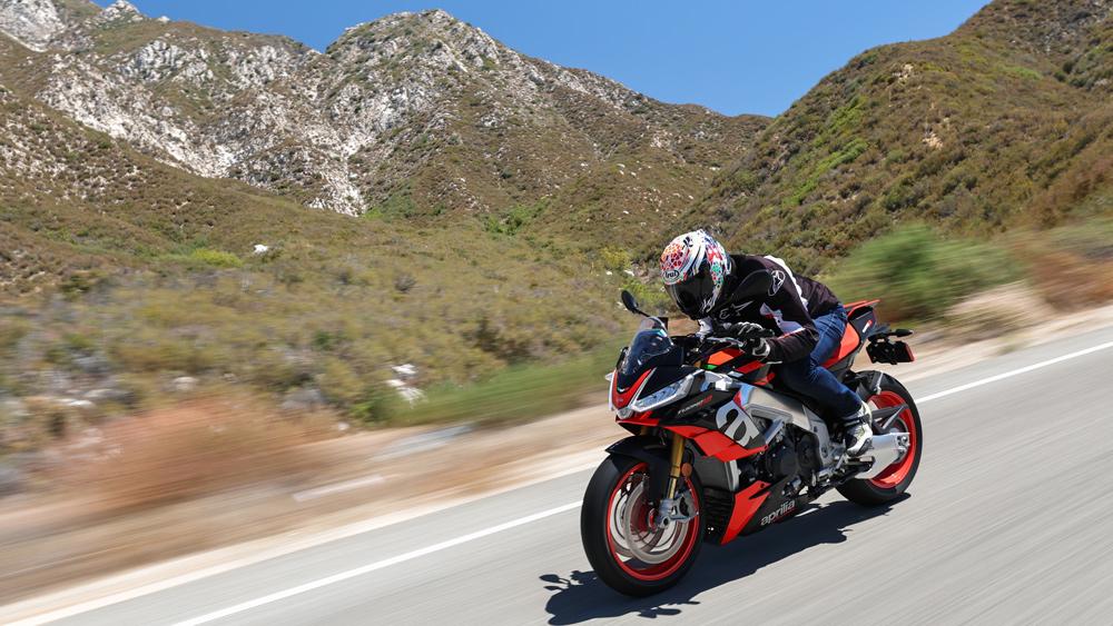 Riding the Aprilia Tuono V4 Factory motorcycle.