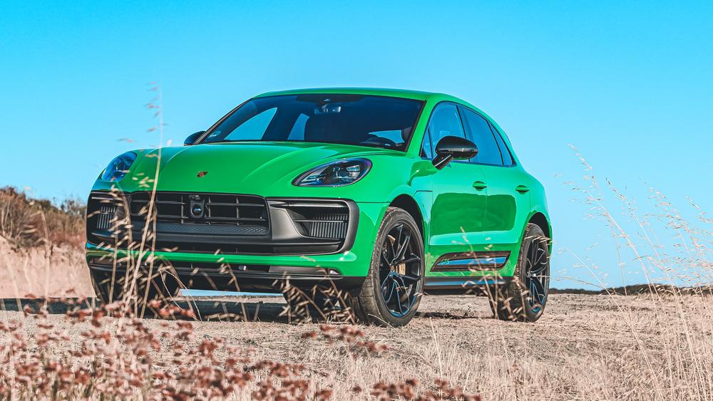 The 2022 Porsche Macan GTS in Python Green.