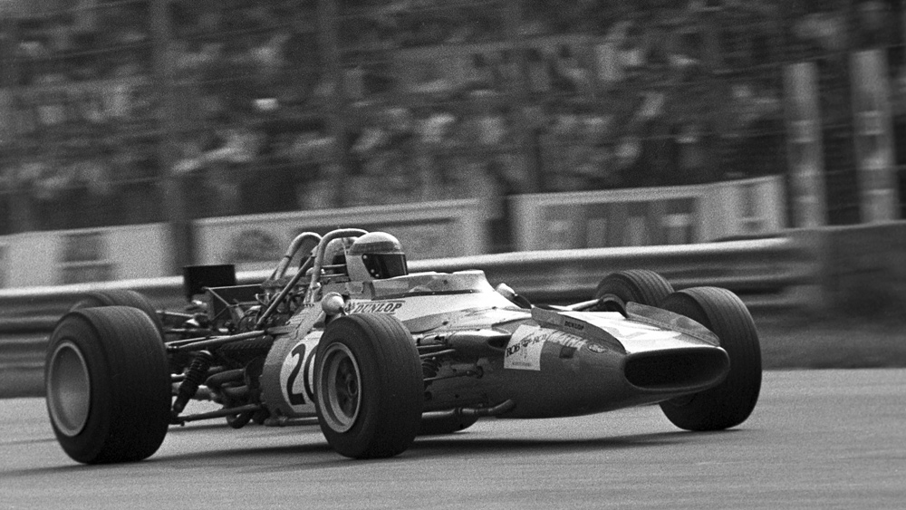 Racer Jackie Stewart at the Grand Prix of Italy in Monza, circa 1969.