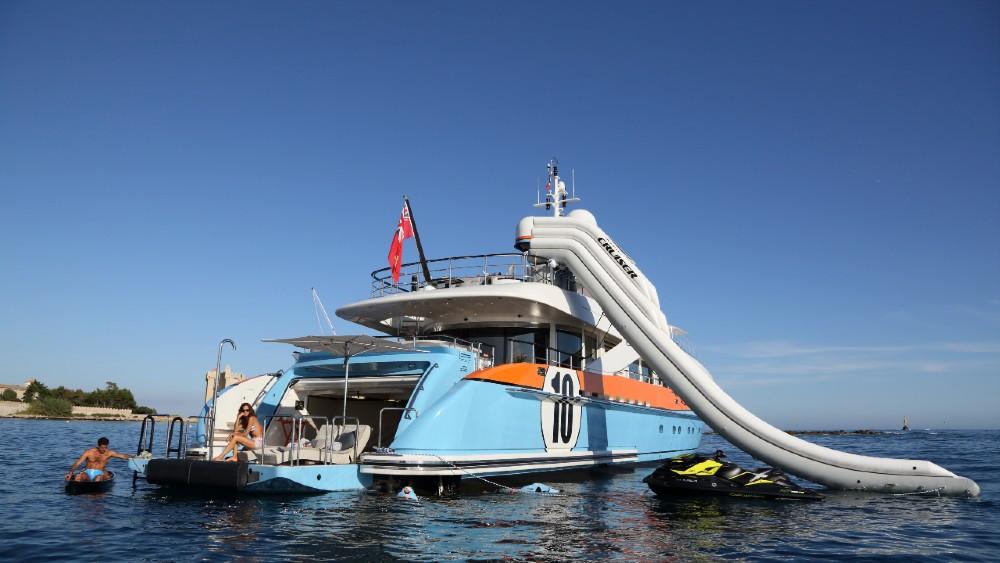 Aurelia is a $10 million superyacht with a unique paint scheme, inspired by a 1970 race car