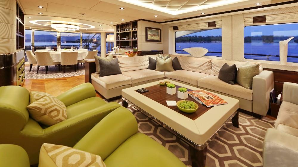 Aurelia is a $10 million superyacht with a unique paint scheme, inspired by a 1970 racecar