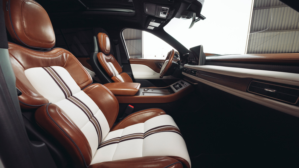 The interior of the Aviator concept SUV developed by Lincoln in collaboration with Shinola.