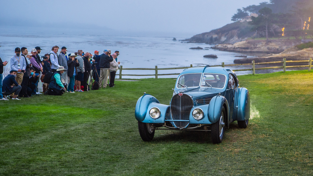 The world-renowned 1936 Bugatti 57SC Atlantic roll into position at the 70th Pebble Beach Concours d'Elegance.