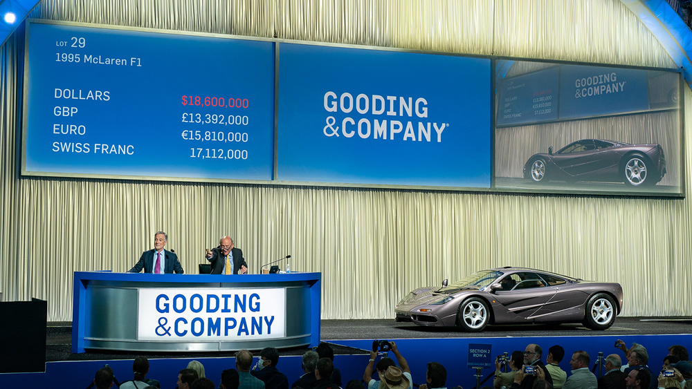 The 1995 McLaren F1 that went under the hammer for $20.46 million at Gooding & Company's Monterey auction in 2021.