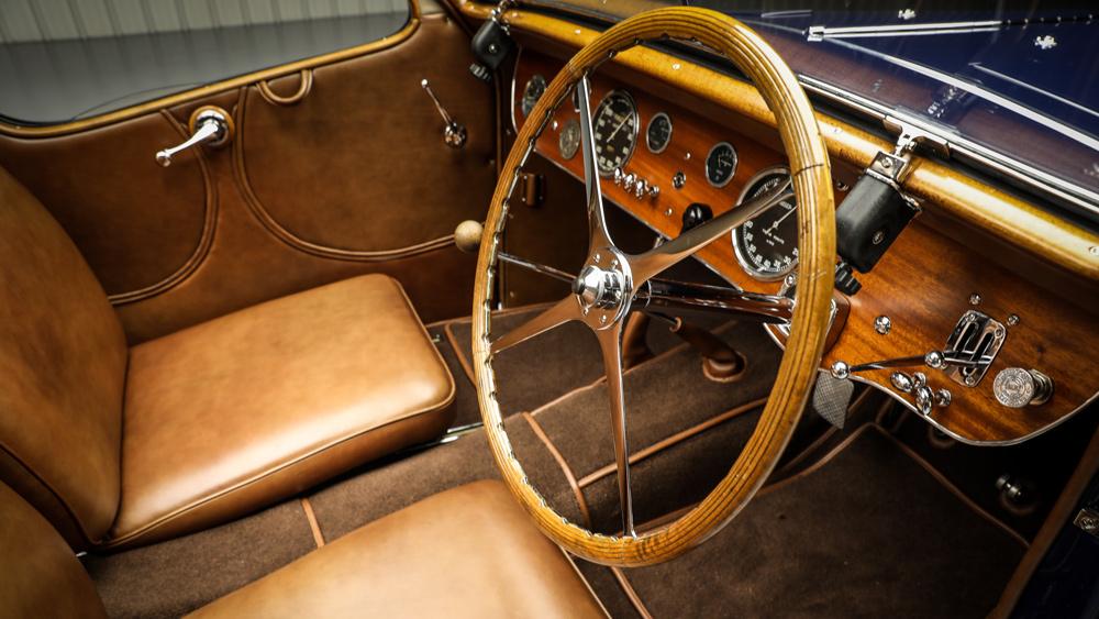The interior of a 1938 Bugatti Type 57S Atalante Coupé.
