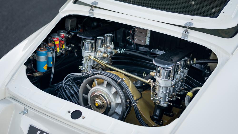 The engine inside a 1968 Porsche 911 R.