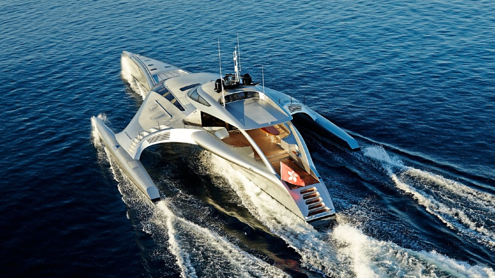 The 140-foot Adastra's triple hulls, light weight and shallow draft gives it exceptional seaworthiness and range.