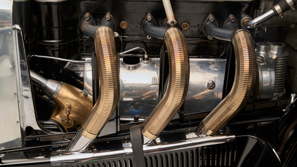 A portion of the engine on a 1928 Mercedes-Benz 26/120/180 S-Type Supercharged Sports Tourer.