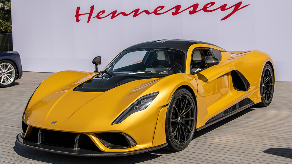 The Hennessey Venom F5 hypercar in Mojave Gold.