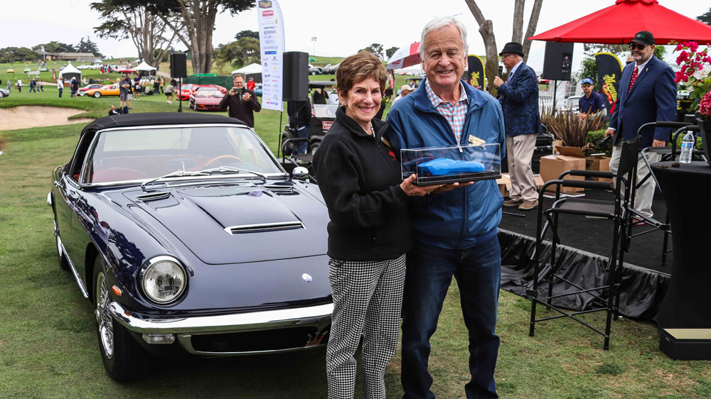 Bobbie and George Andreini earn Best of Show at the 2021 Concorso Italiano for their 1965 Maserati Mistral Spider.