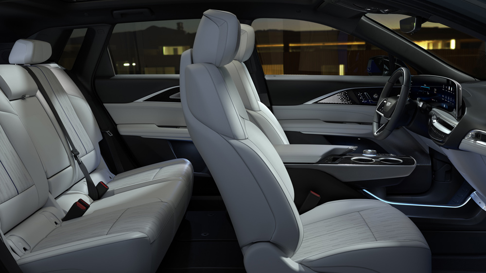The interior of the all-electric 2023 Cadillac Lyriq crossover.