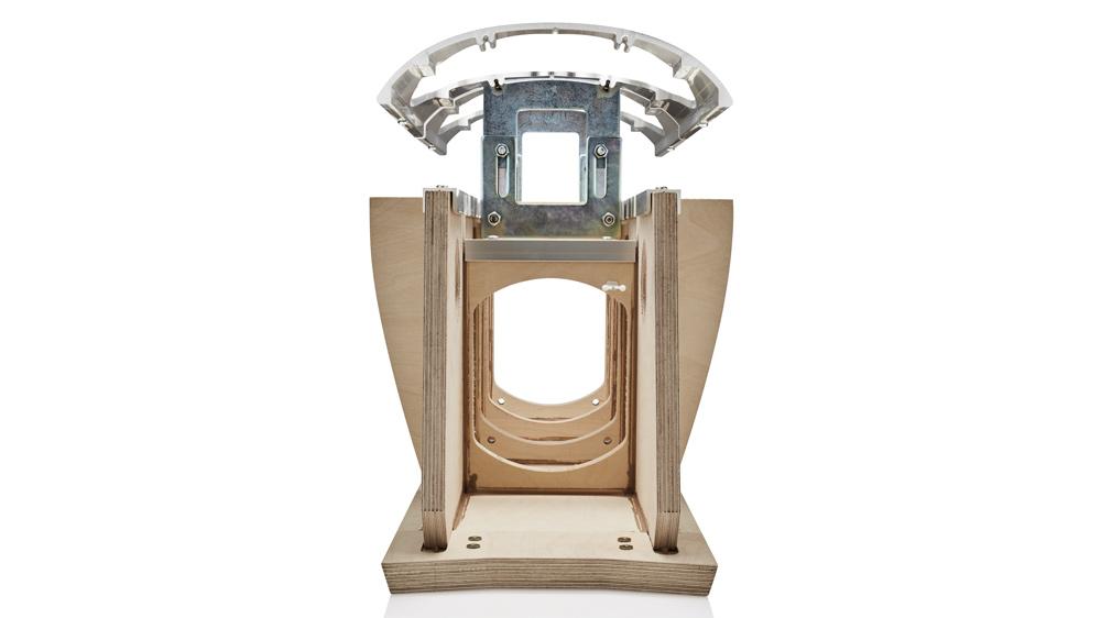 The biometric suspension inside the Bowers & Wilkins 801 D4 loudspeaker.