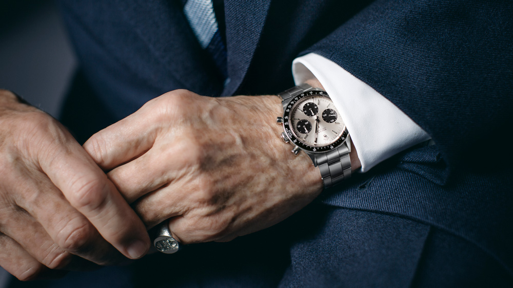 Sir Jackie Stewart, former racer and current Rolex Testimonee, wearing a Rolex Oyster Perpetual Cosmograph Daytona timepiece.