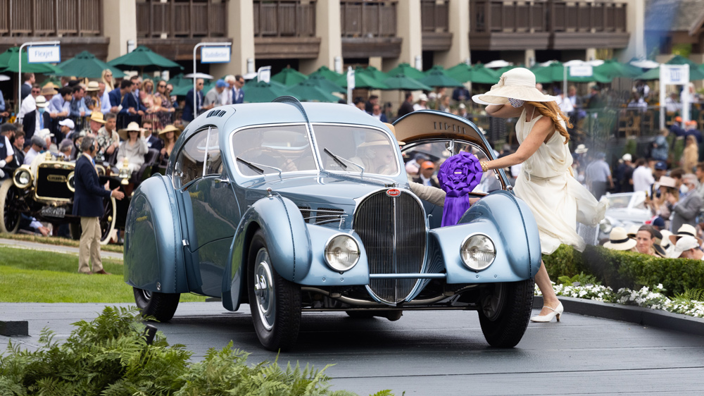 The fabled 1936 Bugatti Type 57Sc Atlantic receives special commendation at the 2021 Pebble Beach Concours d'Elegance.