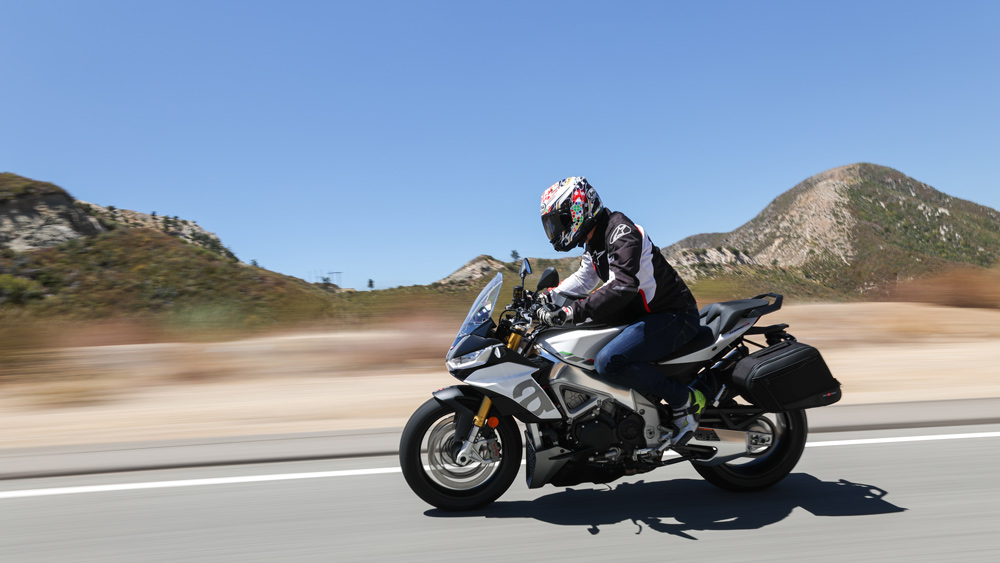 Riding the 2021 Aprilia Tuono V4 motorcycle.