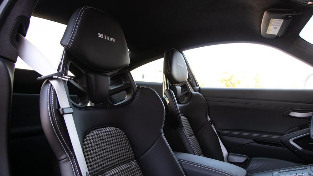 The interior of a 2016 Porsche 911 R.